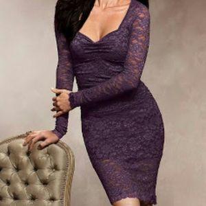 Moda International Purple Long Sleeve Lace Dress
